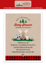 8 Lumberjack Woodland Forest Animal Raccoon Baby Shower Personalized Invitations