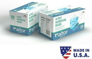 MADE IN USA 4-PLY SURGICAL DISPOSABLE MASKS - ASTM LEVEL 3 98% BFE FDA  Approved
