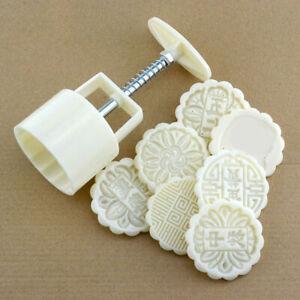 Moon Cake Mold Hand Pressure Mold Baking Mold+1 Printing Dessert Plate Tool