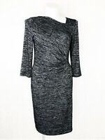 Talbots Women's Knit Black/Grey Dress Long Sleeve Size Large NWOT