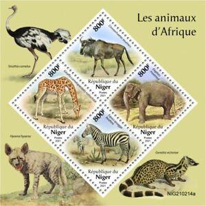 Niger 2021 MNH African Wild Animals Giraffes Elephants Zebras Wildebeest 4v M/S