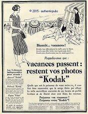 PUBLICITE KODAK CAMERA APPAREIL PHOTO BIENTOT LES VACANCES MER DE 1926 FRENCH AD
