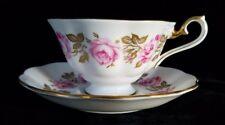 Royal Albert VANITY FAIR Pink Rose Gold Leaf Trim Bone China Cup Saucer Set
