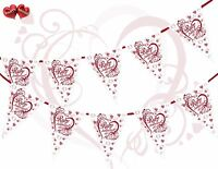 40th Ruby Anniversary Themed Hearts Red Bunting Banner 15 flags Very Luxury