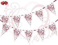 40th Ruby Anniversario a tema CUORI ROSSO Bunting Banner 15 Bandiere molto elegante