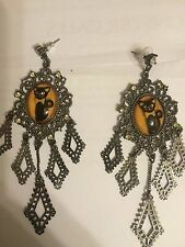 "Betsey Johnson Vintage Black Cat Cameo Vicki Victorian Pewter 4"" Long Earrings"