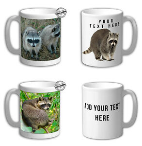 Personalised RACCOON  ANIMALS  Mug Cup & Coaster. Add Name and Text
