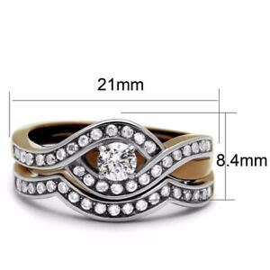 Womens Round CZ Center Two Tone Coffee Stainless Steel Anniversary Ring Set