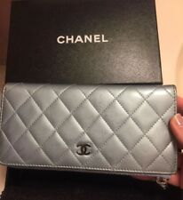 Auth CHANEL Light Blue Patent Quilted Leather CC Logo Zippy Wallet