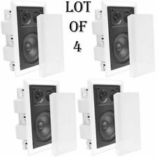 "LOT OF (4) -Pyle PDIW87 8"" 2-Way In Wall Enclosed Speakers W/Directional Tweeter"
