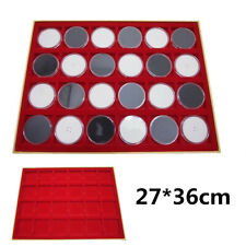 24 Grids Red Display Tray Storage Case For 2''x2'' Cardboard Coin Holders  ! 。