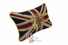 """Vintage Union Jack Couch Cushion Gold Embroidered Royal Coat of Arms. 12 x 18"""""""