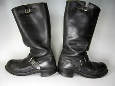 """Vintage 8W by Double H 15"""" Engineer Buckle Boot Black Leather Mens E Mototcycle"""