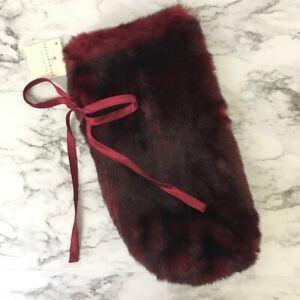 Pottery Barn Fur Maroon Wine Bag Gift NEW