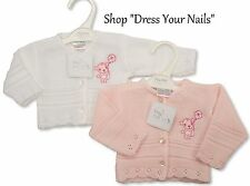 Premature Baby Dress Set NurseryTime Pink/White // Cardigan Teddy Embroidered
