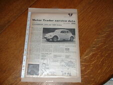 VW BEETLE 1200 & 1300 MOTOR TRADER SERVICE INFORMATION SHEETS. FREE U.K. POST.