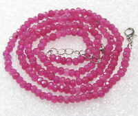 """Fine 2x4mm Rose Ruby Gemstones Faceted Roundel Beads Necklace 18"""" AAA"""