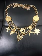 "Vintage Escada gold tone large chain belt with 8 large charms - 37"" long"