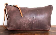 HANDMADE MURKA SHABBY GRAY BROWN GENUINE LEATHER WRIST BAG POUCH CLUTCH DOPP