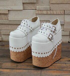 Super High Wedge Heels Lolita Platform Pumps Buckle Strap Shoes Party Laces Shoe