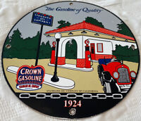 VINTAGE RED CROWN GASOLINE PORCELAIN SIGN GAS STATION STANDARD OIL PUMP PLATE