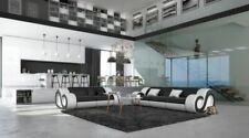 Leder Sofa Garnitur Modern Couchgarnitur NESTA 3 Sitzer und 2 Sitzer LED Schwarz