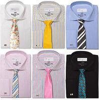 Mens Premium Cotton Business Cutaway Collar regular fit shirt double cuff