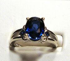NEW Large BLUE KASMIR SAPPHIRE Gold Ring 4.74ct 14k White Gold Size 7