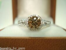NATURAL CHAMPAGNE BROWN DIAMOND COCKTAIL RING 14K WHITE GOLD 1.35 CARAT