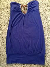 NEW - BLUE STRAPLESS BEADED TUNIC/TANK - Junior's Size Small