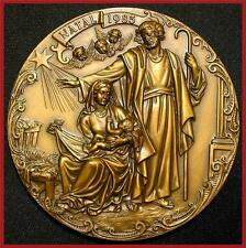Religious / Nativity of Jesus / Xmas / Angels / Fantastic Big Bronze Medal M. 4a