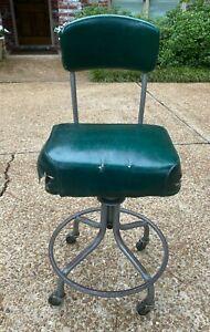 Vtg 1950s Steelcase Industrial Drafting Office STOOL Chair Swivel Wheels REPAIRD