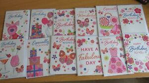 PACK OF 12 DIFFERENT DESIGNS FEMALE TRADITIONAL OPEN BIRTHDAY GREETINGS CARD