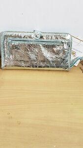 Adrienne Vittadini Studio Large Mint Crackled Metallic Wallet Free Ship New