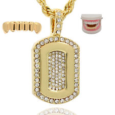 """Mens 14k Gold Plated 2 pcs set Dog Tags Pendant 24"""" Rope chains Bottom Grillz"""