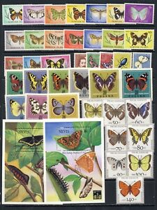 Beautiful Butterflies on stamps mnh vf sets and sheets, long sets on 2 pages