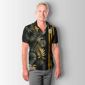 Pittsburgh Steelers Men Summer Shirts Casual Collared Short Sleeve Button-up Top