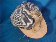 Vintage COAL MINERS Blue White Pinstripe CLOTH CAP w LEATHER VISOR