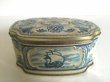 Vintage Delft Blue & White Dutch Oval Candy Tin Container Box Made In W.Germany