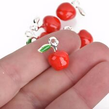 4 APPLE Charms, 3d charms, Red and Green Enamel Charms, 19mm, chs3648