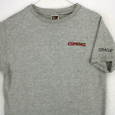 Vintage COMPAQ ORACLE Fruit of the Loom Heavy Cotton Gray Crew Neck T-SHIRT M