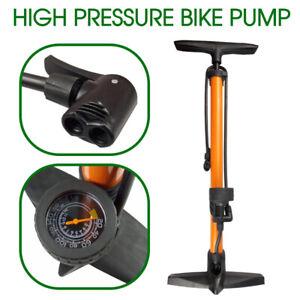 160 PSI High Pressure Bicycle Air Pump Bike Alloy Floor Dual Valve Gauge UP AU