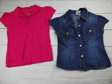 Lot of 2 Girls Shirts Pink Collar & Jean Shirt Size 5 - A1680