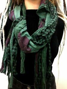 Boho hippy festival GREEN dreadlock LETTUCE OF LONDON scarf wrap pashmina shawl