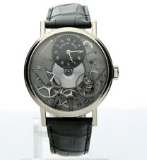 Breguet Tradition mechanical 18K white gold skeleton #7027 watch 38 MM leather