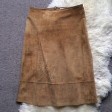 Wallis tan sugar brown real suede leather midi A-line skirt