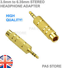 "2x GOLD 3.5mm Stereo Maschio Spine Jack a 6.35mm Adattatore Femmina 1/4"" - Cuffie"