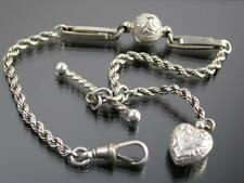 ANTIQUE SILVER ALBERTINA WATCH CHAIN C.1900 with Heart Pendant & Fancy T-bar