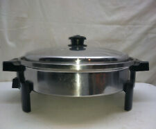 "Saladmaster Stainless 11.5"" Electric Skillet Roaster Buffet Server Warmer Lid"