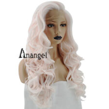 Anogol Women's Pink Synthetic Lace Front Wig Long Curly Wigs Natural Hairline